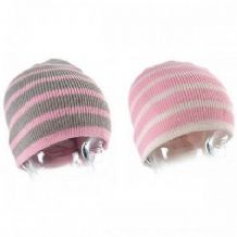Girls pink striped beanie hat Warm soft knitted winter kids childrens child gift